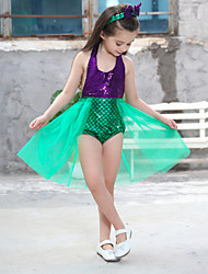 cheap -The Little Mermaid Princess Dress Flower Girl Dress Girls' Movie Cosplay A-Line Slip Vacation Dress Red Blue Green Dress Headwear Children's Day Masquerade Satin / Tulle