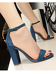 cheap -Women's Sandals Chunky Heel Open Toe Block Heel Sandals Daily PU Wine Nude White