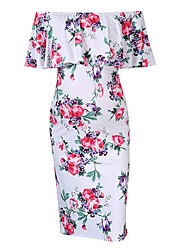 cheap -Women's Sheath Dress Knee Length Dress - Short Sleeves Floral Summer Formal 2020 White Blue Navy Blue Light Blue S M L XL XXL