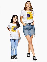 ieftine -Mama și cu mine Activ De Bază Floral Grafic Imprimeu Manșon scurt Regular Tricou Alb