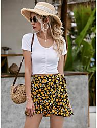 cheap -Women's Basic Mini Skirts Floral Ruffle