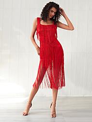 cheap -Women's Sundress Midi Dress - Sleeveless Solid Color Mesh Tassel Fringe Summer Elegant Holiday Going out 2020 Red XXS XS S M L