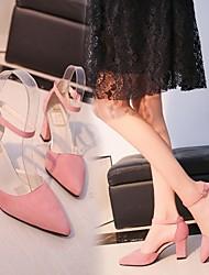 お買い得  -女性用 ヒール 夏 チャンキーヒール ポインテッドトゥ 日常 スエード ブラック / ピンク / Brown