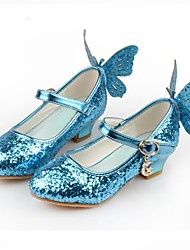 cheap -Cinderella Princess Elsa Shoes Girls' Movie Cosplay Sequins White / Blue / Pink Shoes Children's Day Synthetic Leather