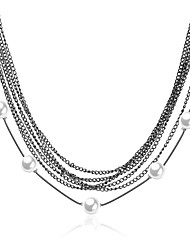 cheap -Women's Pearl Pendant Necklace Classic Flower Fashion Titanium Steel Black 86+8 cm Necklace Jewelry For