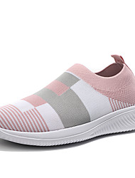 cheap -Women's Loafers & Slip-Ons Spring & Summer Flat Heel Round Toe Basic Minimalism Daily Plaid / Check Knit / Elastic Fabric Running Shoes Wine / Pink / Blue
