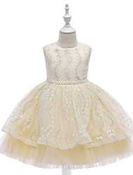 cheap -Kids Little Girls' Dress Plants Trees / Leaves Solid Colored Embroidered Mesh Blue Blushing Pink Gold Knee-length Sleeveless Cute Dresses Children's Day Slim