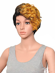 cheap -Synthetic Wig Curly Hathaway Halloween Christmas Side Part Wig Short Brown Blonde Pink Gold Pink Black / Blonde Synthetic Hair 12 inch Women's Women Synthetic Sexy Lady Mixed Color hairjoy