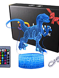 cheap -Dinosaur 3D Illusion Lamp for Boy Dinosaur Lamp 16 Colors with Remote Control Smart Touch Night Light Best Christmas Birthday Gift for Boy Girl Kids Age 5 4 3 1 6 2 7 8 9 10 11 Years Old