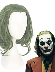 cheap -Cosplay Wig Arthur Fleck The Joker Curly Asymmetrical Wig Long Green Synthetic Hair 14 inch Men's Anime Cosplay Best Quality Green