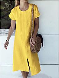Недорогие -Жен. Платье-футболка Платье средней длины - Короткие рукава Сплошной цвет Лето На каждый день 2020 Белый Желтый Светло-синий S M L XL XXL XXXL XXXXL