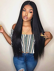 cheap -Remy Human Hair Lace Front Wig Free Part style Indian Hair Yaki Straight Black Wig 130% Density with Baby Hair Odor Free Lace Best Quality with Clip Women's Long Human Hair Lace Wig Premierwigs
