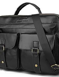 cheap -Men's Bags Cowhide Shoulder Messenger Bag Laptop Bag Briefcase Belt Zipper Solid Color Daily Office & Career Handbags Black Grey Dark Brown