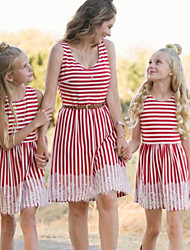 cheap -Mommy and Me Vintage Sweet Striped Color Block Lace Print Sleeveless Knee-length Dress Red
