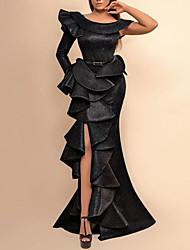 cheap -Mermaid / Trumpet Sexy Black Engagement Prom Dress Jewel Neck Long Sleeve Floor Length Spandex with Split Tier 2020