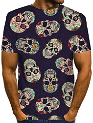 cheap -Men's Graphic Skull Blue Print T-shirt Basic Exaggerated Daily Navy Blue