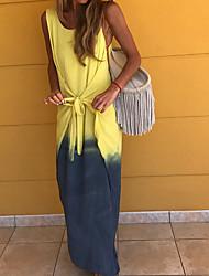 ieftine -Pentru femei Rochii Sheath Rochie Maxi - Fără manșon Bloc Culoare Vară Oficial 2020 Albastru piscină Galben Trifoi S M L XL XXL XXXL