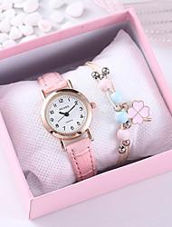 cheap -Women's Quartz Watches Quartz Minimalist Chronograph Analog Blushing Pink / One Year / PU Leather / One Year