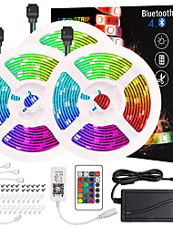 cheap -50ft 3x5M App Intelligent Control Bluetooth Music Sync Flexible Led Strip Lights 5050 RGB SMD 450 LEDs IR 24 Key Bluetooth Controller with Installation Package 12V 6A Adapter Kit
