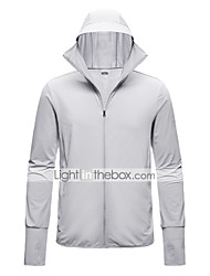 cheap -Men's Full Zip Thumbhole Track Jacket Hoodie Jacket Long Sleeve Elastane UV Sun Protection UPF50+ Running Walking Fitness Jogging Sportswear Jacket Athleisure Wear Top White Blue Gray Activewear