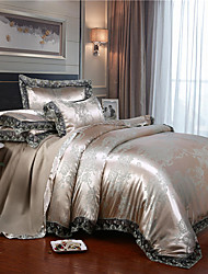 cheap -Satin Satin four-piece Jacquard european-style 1.8 m double quilt set lace bedclothes dormitory four-piece lace set