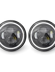 cheap -2pcs 7 Inch LED Headlights White/Yellow Light Beam Halo Angle Eye For Jeep Wrangler JK TJ LJ