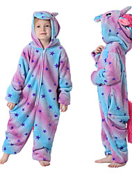 cheap -Kid's Kigurumi Pajamas Unicorn Flying Horse Onesie Pajamas Flannelette Blue Cosplay For Boys and Girls Animal Sleepwear Cartoon Festival / Holiday Costumes