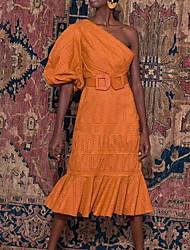 cheap -Sheath / Column Maxi Boho Holiday Cocktail Party Dress One Shoulder 3/4 Length Sleeve Knee Length Cotton with Sash / Ribbon 2020