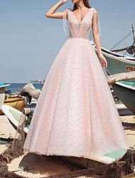 cheap -A-Line Wedding Dresses V Neck Sweep / Brush Train Tulle Sleeveless Country Sexy Wedding Dress in Color with Beading 2021