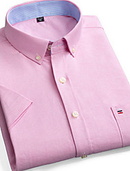 cheap -Men's Plaid Solid Colored Shirt Daily Button Down Collar Blushing Pink / Short Sleeve