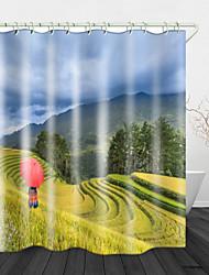 Недорогие -Jincancan риса цифровая печать занавески для душа водонепроницаемый полиэстер&усилитель; нержавеющая медная пряжка без загрязнения цифровой печати