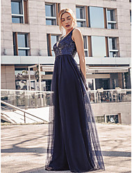 cheap -A-Line Elegant Formal Evening Dress Plunging Neck Sleeveless Floor Length Tulle with Sequin 2020