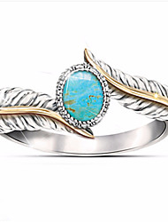 cheap -Personalized Customized Clear Turquoise Ring Classic Gift Promise Festival Geometric 1pcs Silver