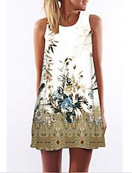 abordables -Femme Robe Trapèze Mini robe Courte Sans Manches Eté - Simple mumu Imprimé 2020 Blanche S M L XL XXL