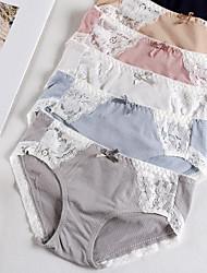 cheap -Women's Lace / Basic Brief - Normal Mid Waist Blushing Pink Khaki Blue One-Size