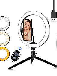 cheap -16CM/20CM/26CM Photography Table LED Light Tripod Ring Lamp Youtube Video Live Photo Studio Bluetooth Selfie Stick Makeup Light For Phone