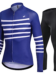 cheap -Nuckily Men's Long Sleeve Cycling Jersey with Tights Blue Bike Sports Lines / Waves Road Bike Cycling Clothing Apparel