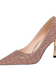 cheap -Women's Wedding Shoes Spring & Summer Stiletto Heel Pointed Toe Daily Solid Colored Suede Pink / Champagne / Gold
