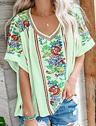 preiswerte -Damen Blumen T-shirt Alltag Grün