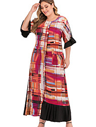 cheap -Women's Sheath Dress Maxi long Dress - Short Sleeves Plaid Summer Elegant 2020 Red L XL XXL XXXL