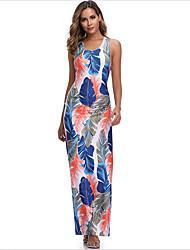 cheap -Women's Sundress Maxi long Dress - Sleeveless Print Summer Boho Sexy 2020 Dusty Blue S M L XL