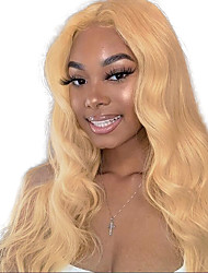 cheap -Remy Human Hair Lace Front Wig Free Part style Indian Hair Body Wave Blonde Wig 150% Density with Baby Hair Color Gradient Natural Hairline with Clip Women's Long Human Hair Lace Wig Premierwigs