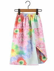 Недорогие -летний галстук краситель радуга миди юбка