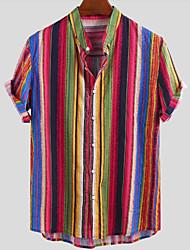 cheap -Men's Striped Shirt Daily Round Neck Button Down Collar Blue / Red / Green / Short Sleeve