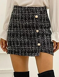 cheap -Women's Mini Bodycon Skirts Plaid