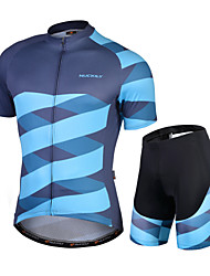 cheap -Nuckily Men's Short Sleeve Cycling Jersey with Shorts Blue Bike Quick Dry Sports Lines / Waves Road Bike Cycling Clothing Apparel