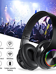 cheap -B39 Colorful Wireless Bluetooth Headset LED Light Head-mounted HiFi Bass Stereo Sound Effect Bluetooth 5.0 Headphone
