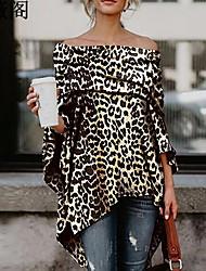 cheap -Women's Leopard T-shirt Daily Off Shoulder Brown