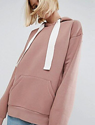 cheap -Women's Hoodie Solid Colored Casual Blushing Pink Brown S M L XL