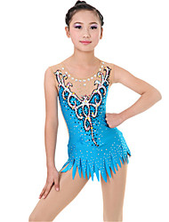 cheap -Women's Girls' Rhythmic Gymnastics Leotards Artistic Gymnastics Leotards Print Blue Light Blue Ballet Dance Ice Skating Leotard Plus Size Long Sleeve Sport Activewear Handmade High Elasticity
